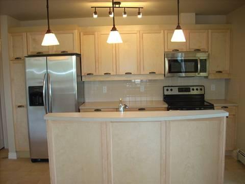 Spruce Grove Condominium. Kitchen (1 of 2): kitchen island & SS appliances