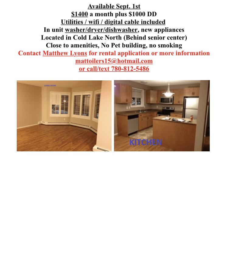 Cold Lake Alberta Condominium à louer